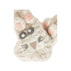Girls Novelty Rabbit Mitts - Cream
