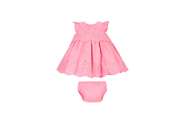 Girls Broderie Dress And Knickers Set - Pink