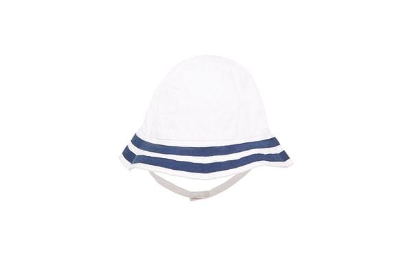 Girls Nautical Sunhat With Ties - White