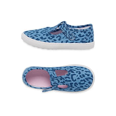 Girls Leopard Print T-Bar Canvas Shoes - Blue