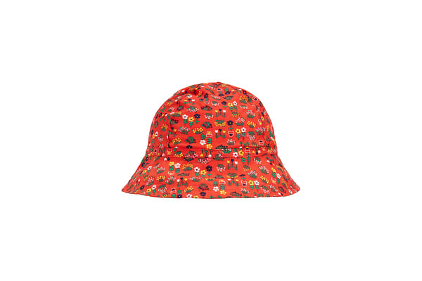 Girls Floral Sunhat - Red