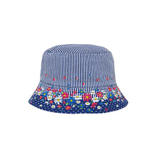 Girls Floral And Striped Sun Safe Fisherman Hat - White