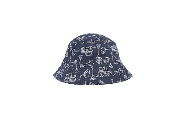 Boys Tractor Fisherman Hat - White