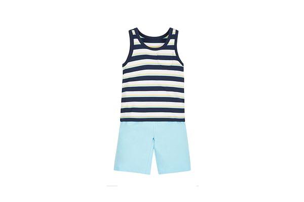 Boys Stripy Vest And Shorts Set - Turq