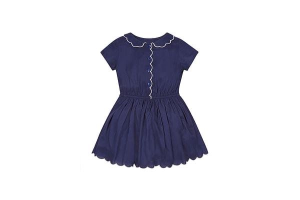 Girls Scalloped Dress - Navy