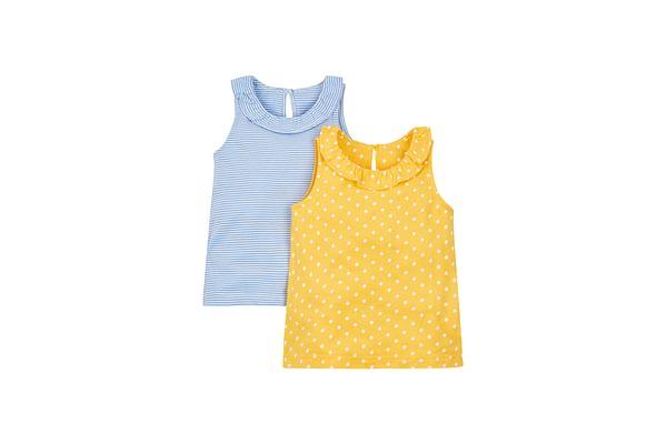 Girls Spotty And Stripy Vests - 2 Pack - Blue
