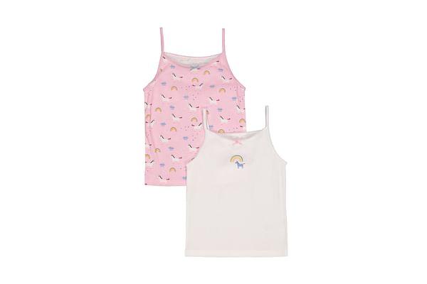 Girls Unicorn Cami Vests - 2 Pack - White