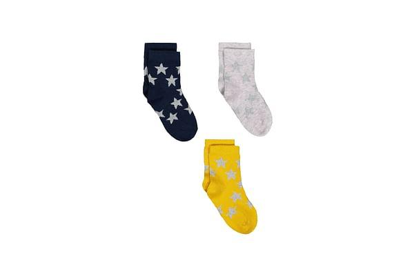 Girls Sparkly Star Socks - 3 Pack - Multicolor