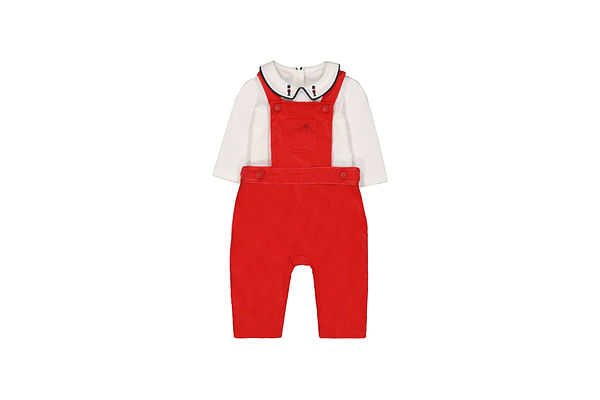 Boys Cord Dungarees And Bodysuit Set - Red