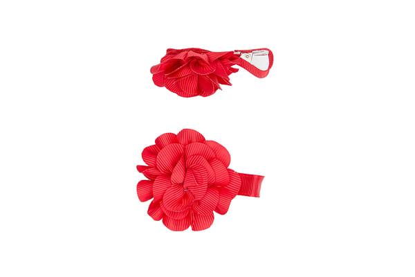 Girls Flower Hair Clips - Red