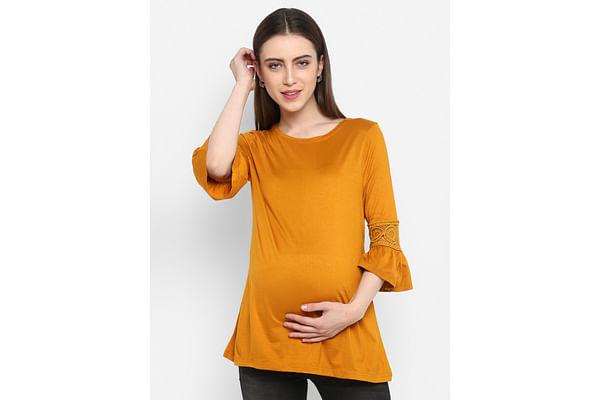 Women Maternity Three-Fourth Sleeves Top - Yellow