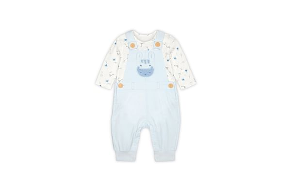 Boys Full Sleeves Dungaree Set Animal Print With 3D Details - Blue