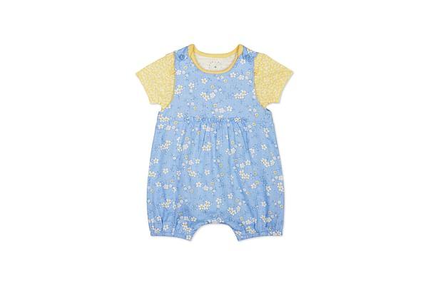 Girls Half Sleeves Dungaree Set Floral Print - Blue Yellow