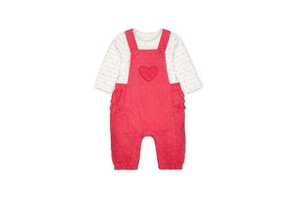 Girls Full Sleeves Cord Dungaree Set Polka Dot Print With Frill Details - Pink White