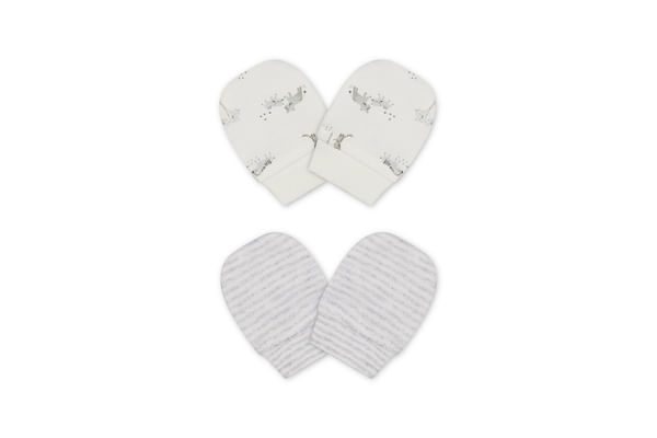 Unisex Mitts Stripe And Animal Print - Pack Of 2 - White Grey