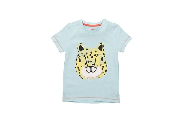 Boys Half Sleeves T-Shirt Leopard Print With 3D Details - Blue