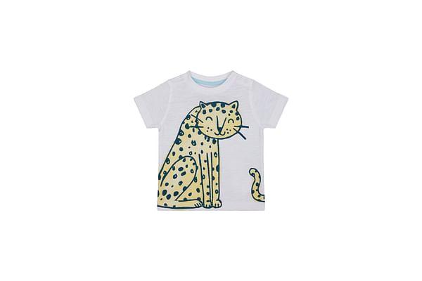Boys Half Sleeves T-Shirt Leopard Print - White