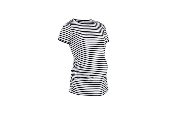 Women Half Sleeves Maternity Top Stripes - White