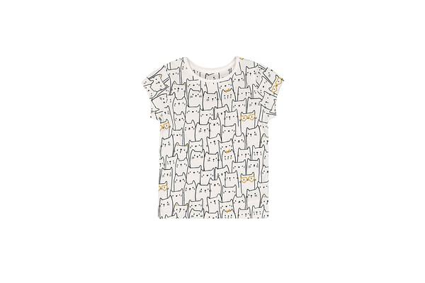Girls Half Sleeves T-Shirt Glitter Cat Print - White