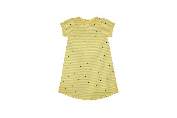 Girls Half Sleeves Dress Stripe And Heart Print - Yellow