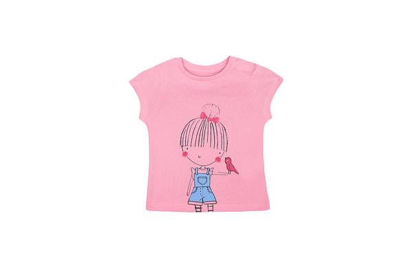 Girls Half Sleeves T-Shirt Girl Print - Pink