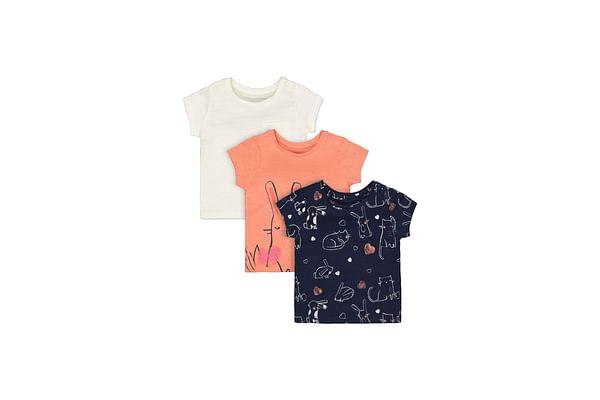 Girls Half Sleeves T-Shirt Bunny Print - Cream Coral Navy