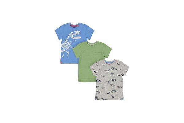 Boys Half Sleeves T-Shirt Dinosaur Print - Pack Of 3 - Blue Green Grey