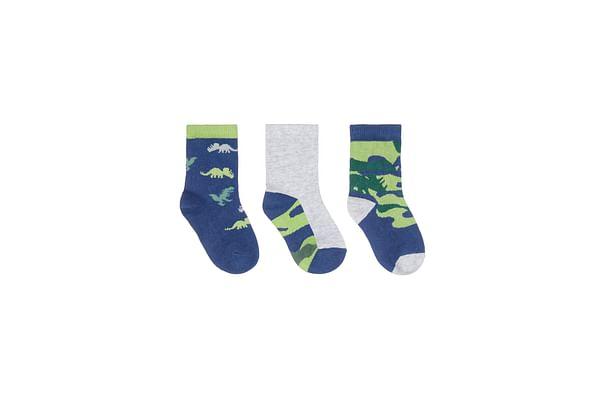Boys Camo Dino Socks - Pack Of 3 - Navy