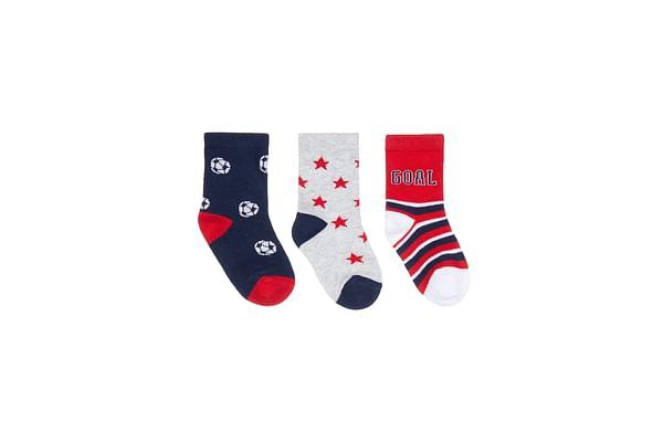 Boys Football Stars And Goal Print Socks - Pack Of 3 - Multicolored