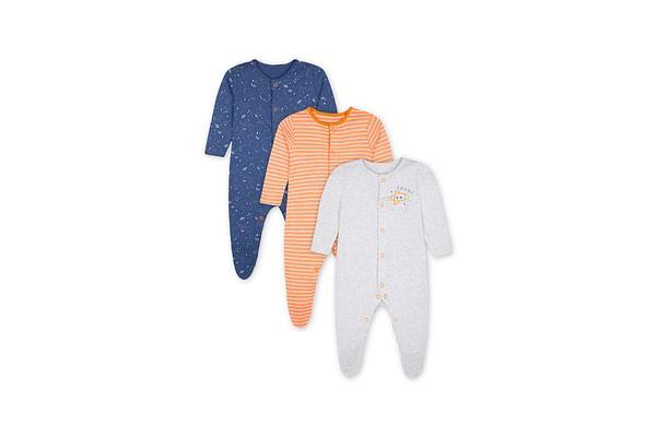 Boys Sleepsuit Space Print - Pack Of 3 - Orange Navy Grey