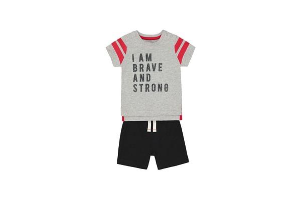 Boys Half Sleeves T-Shirt And Shorts Set Text Print - Grey Black