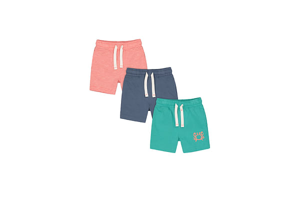 Boys Shorts Stripe And Crab Print - Pack Of 3 - Red Navy Green